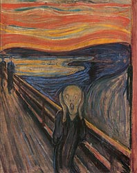 The Scream by Edvard Munch (http://www.edvard-munch.com/gallery/anxiety/scream.htm)